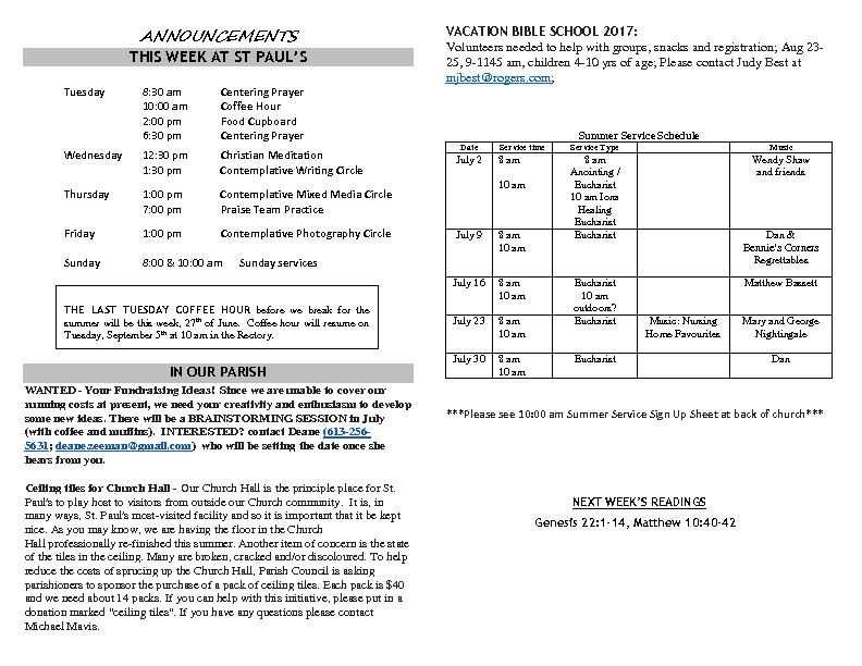 Announcements June 25 2017