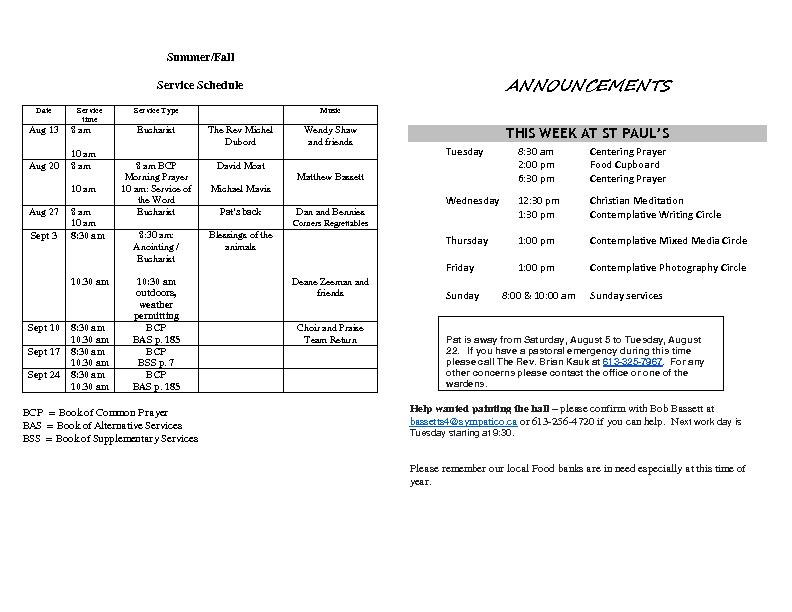 Announcements Aug 06 2017