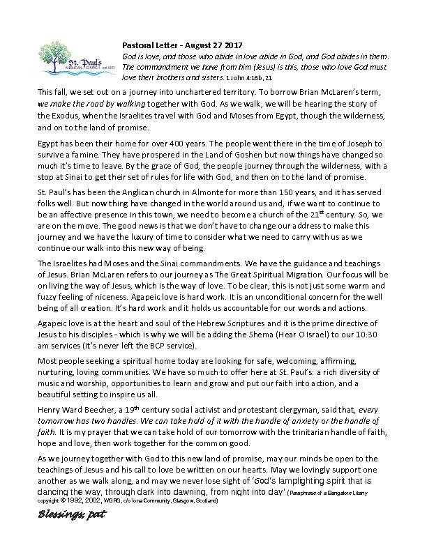 Pastoral Letter 2017