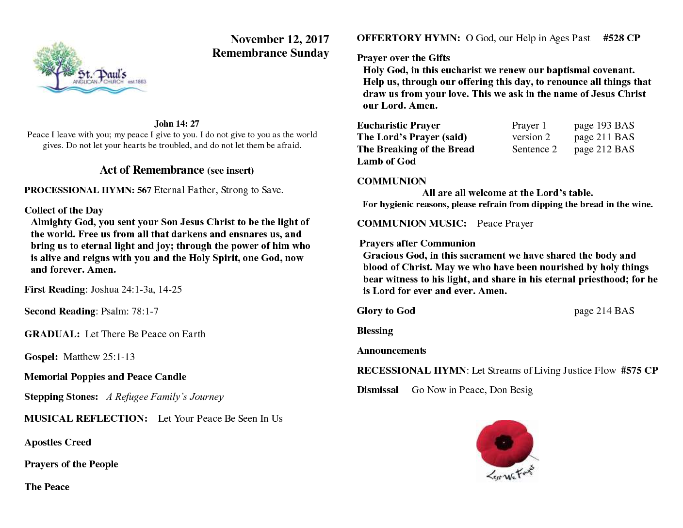 Bulletin November 12 2017 – Remembrance Day