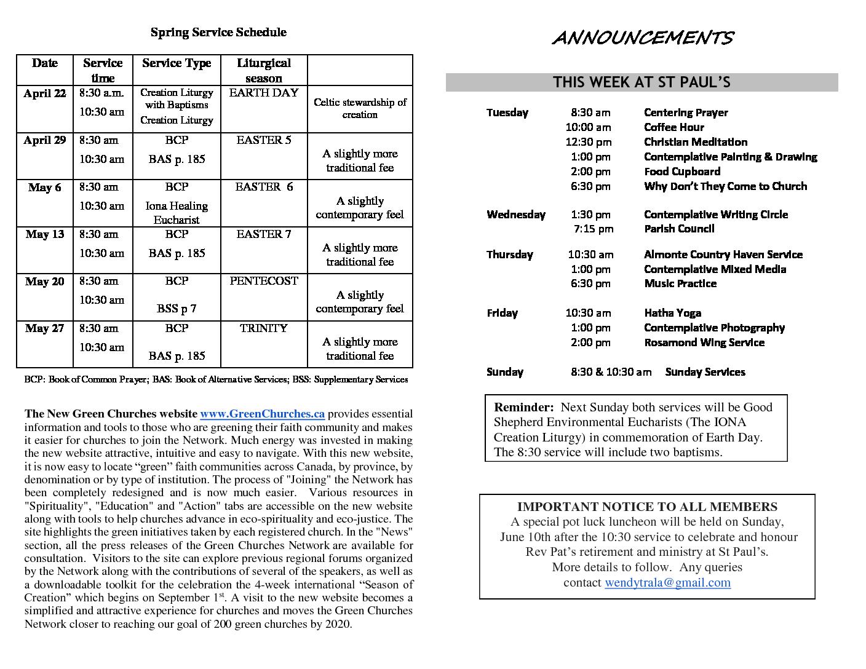 Announcements Apr 15 2018