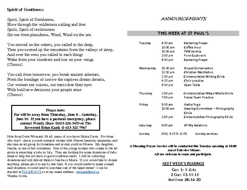 Announcements June 4 2017