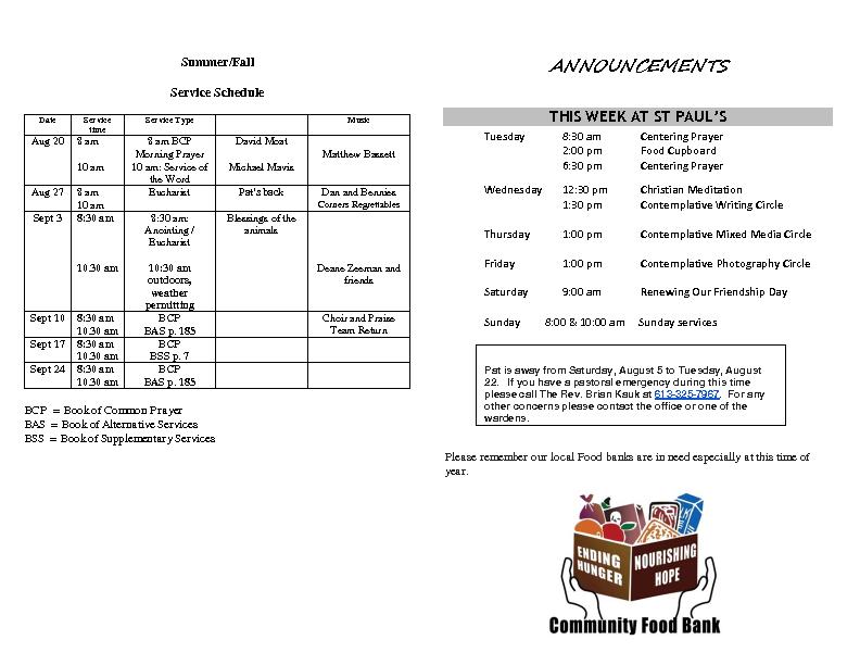 Announcements Aug 13 2017