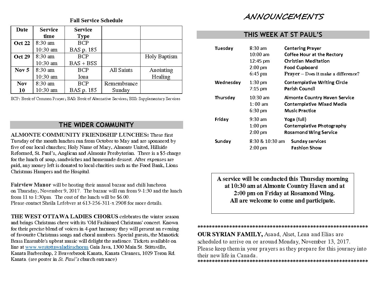 Announcements OCT 15 2017