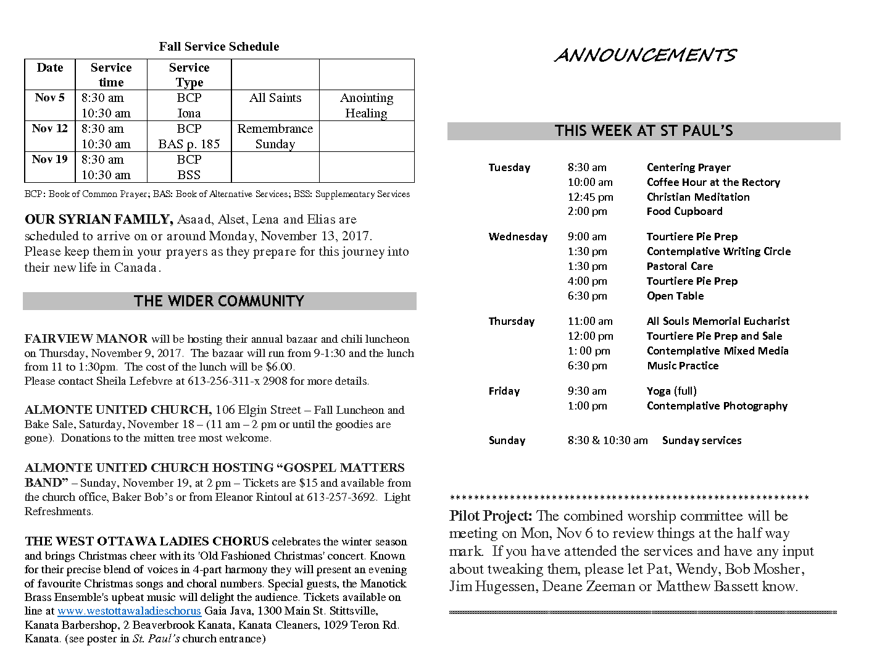 Announcements Oct 29 2017