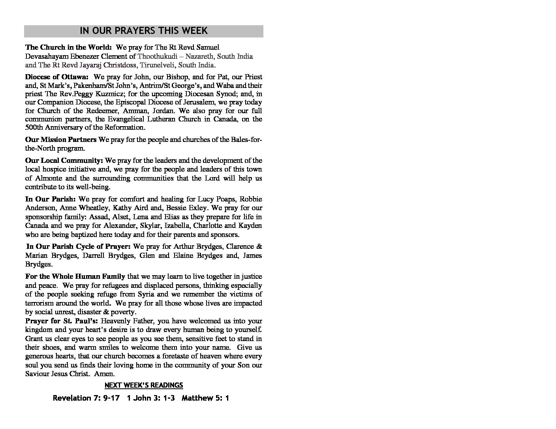 Bulletin A CELEBRATION OF BAPTISM AND HOLY EUCHARIST – October 29 2017