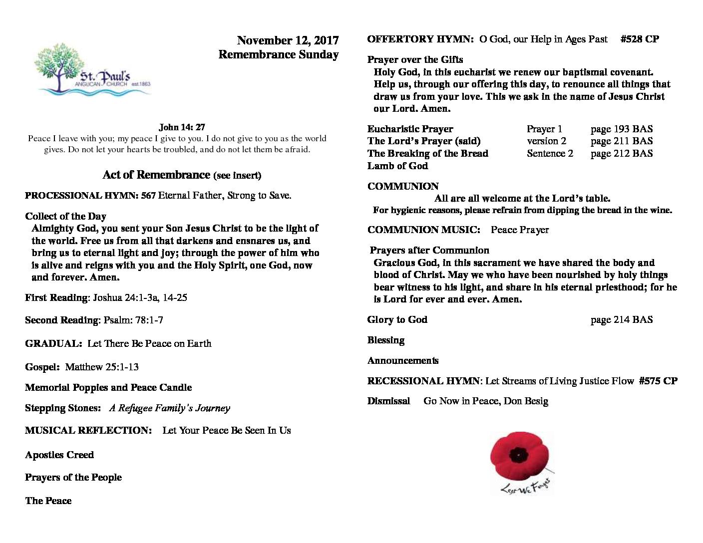 Bulletin November 12 2017 – Remembrance Day
