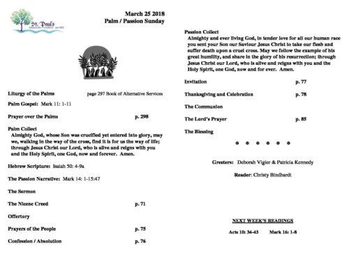 Bulletin 830 am PASSION SUNDAY Mar 25 2018 - St Paul's Almonte