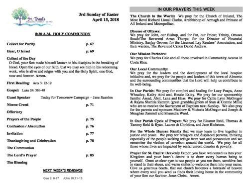 Bulletin 830 am Apr 15 2018 - St Paul's Almonte