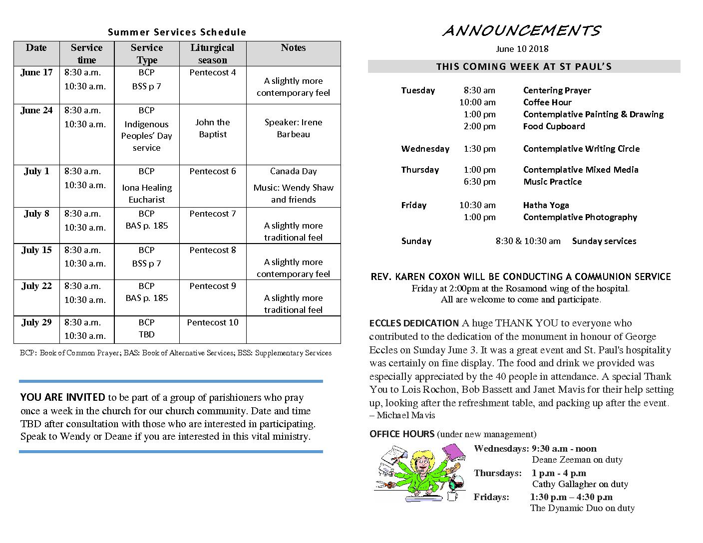 Announcements June10 2018