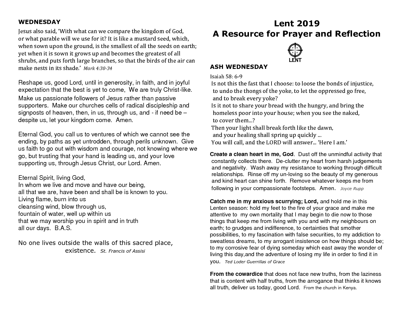 Lent 2019 Resource for Prayer & Reflection