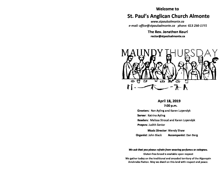 Maundy Thursday Liturgy 2019