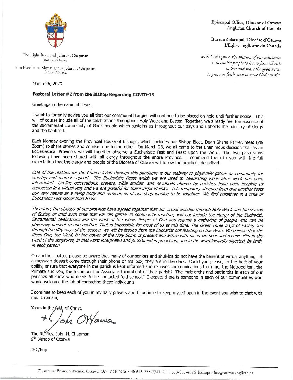 2020.03.26 Bishop's Letter