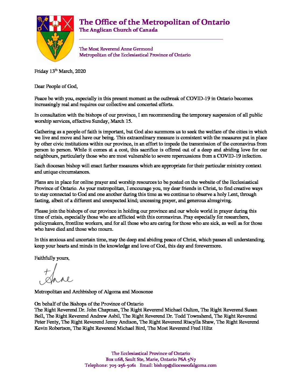 COVID-19 Suspension of Public Worship Letter Metropolitan