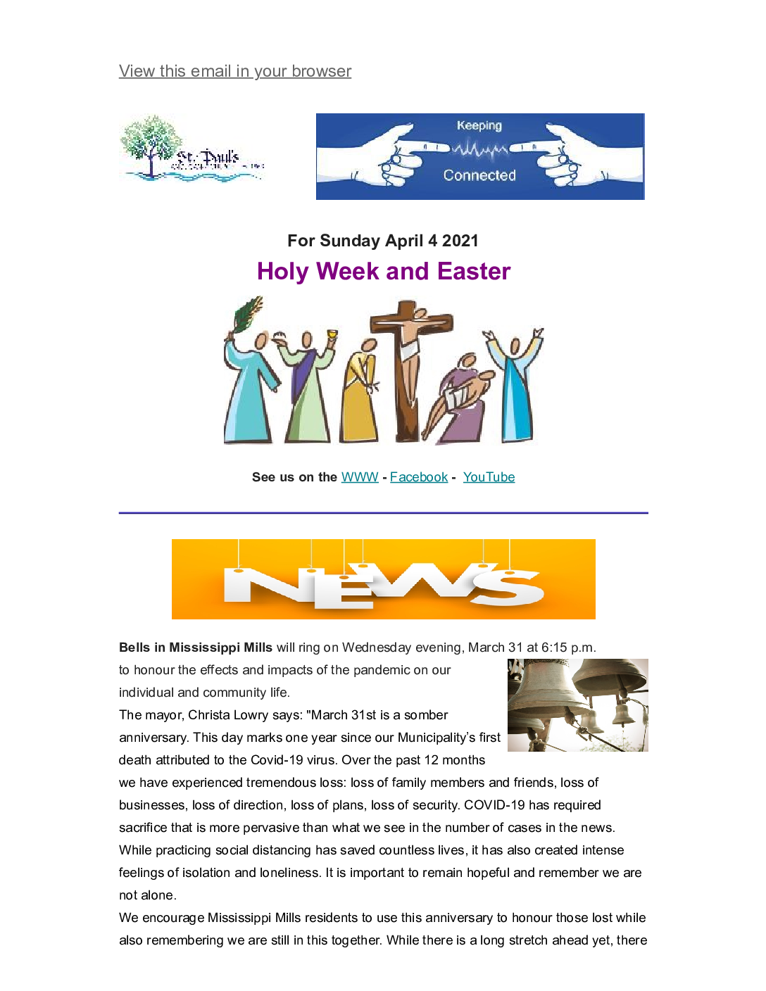 Keeping Connected Holy Week, Good Friday and Easter 2021